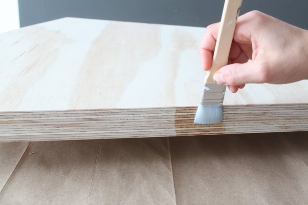 Applying the first coat of polycrylic