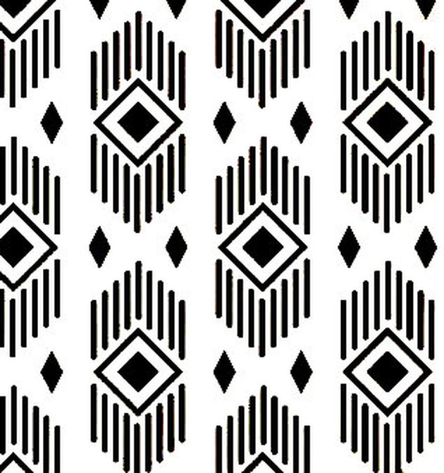 Black and white stencil featuring diamond pattern