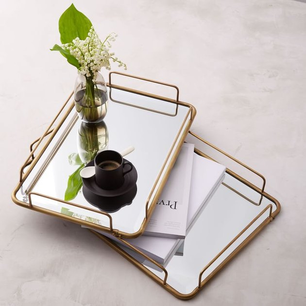 gold tray with mirror