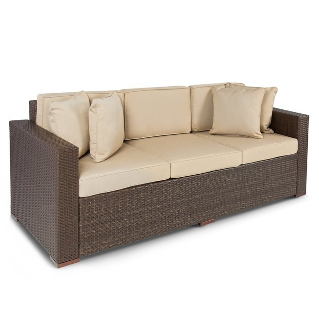 Wicker and cream outdoor couch