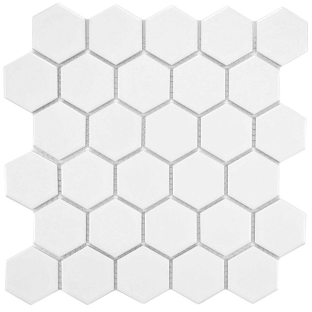 Hexagonal white tile