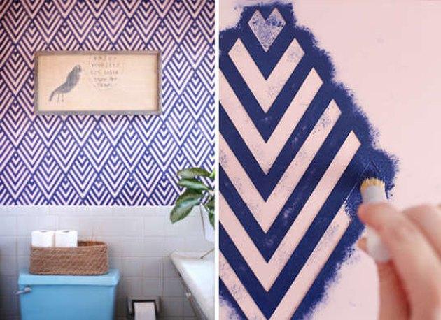 geometric design wallpaper effect paint stencil