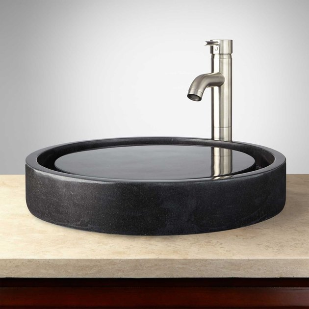 Raised black sink