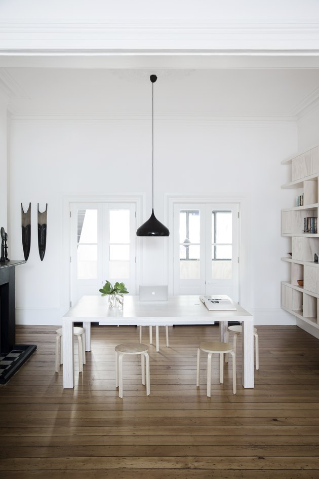 Office with white table and stools.