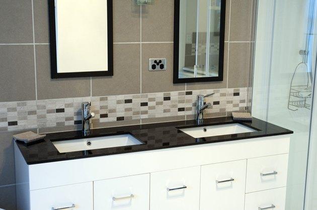 Clean grout lines in bathroom.
