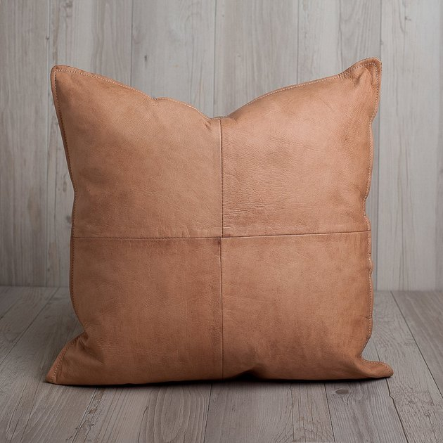 Square tan leather throw pillow