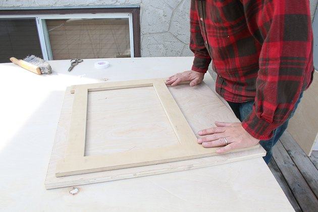 sticking the MDF template to the plywood