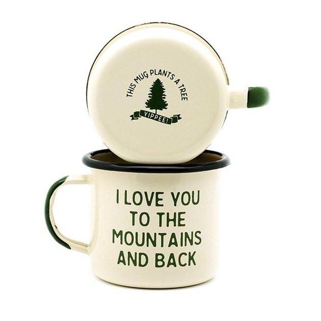 "Two cream and forest green mugs that say ""I Love You to the Mountains and Back"""