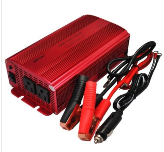 A 12-volt power inverter.