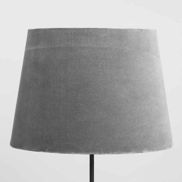 Gray velvet lamp shade