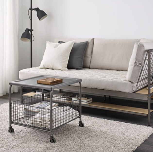 metal rolling coffee table