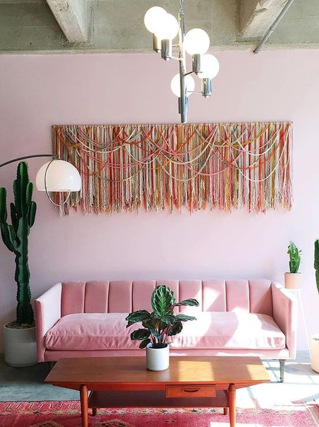 monochromatic pink room