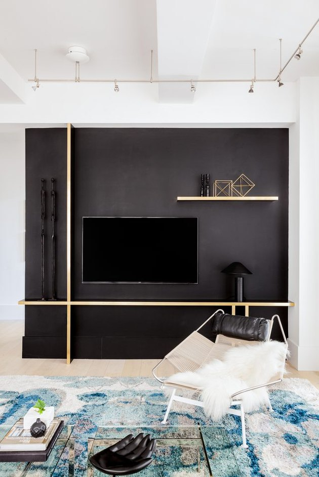 black wall with tv