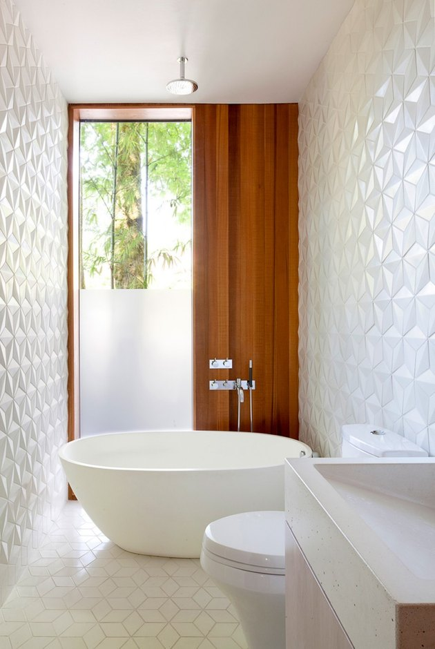 bathroom with geometric pattern wall tile