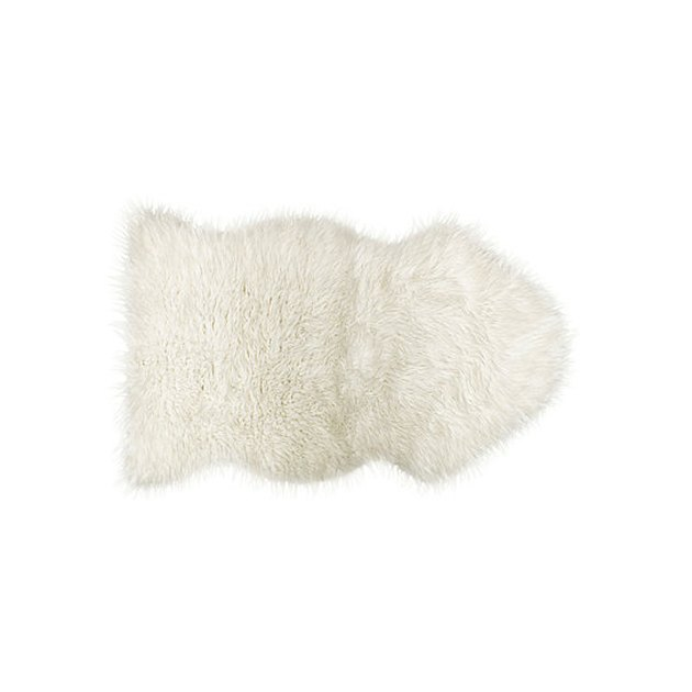 Small off-white faux-fur throw