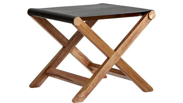 Black leather folding stool