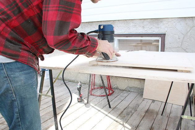 cutting out the plywood table pieces