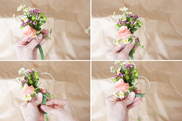 Attach rose and fever few to finish off arrangement on napkin ring