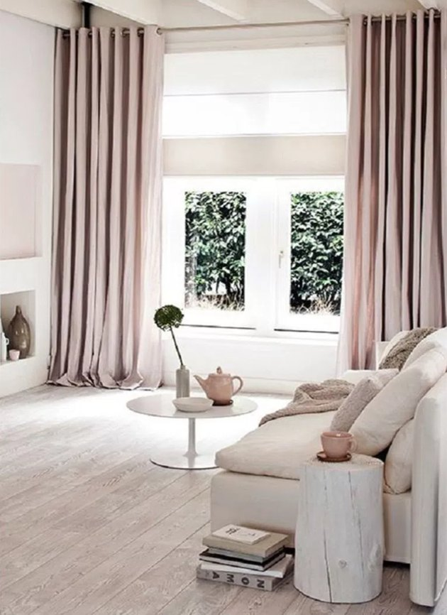 small apartment blush rose floor-to-ceiling window curtains