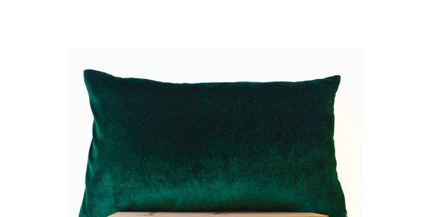 Emerald green velvet pillow