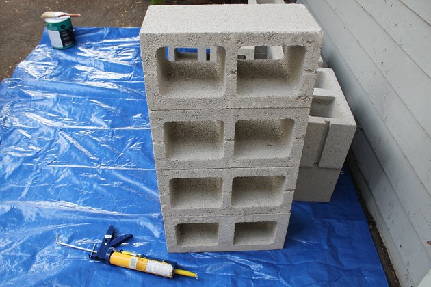 The base of the cinder block supports.