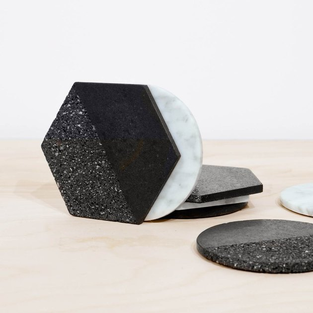 volcanic rock and marble coasters