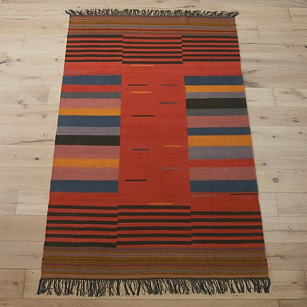 Red and blue area rug