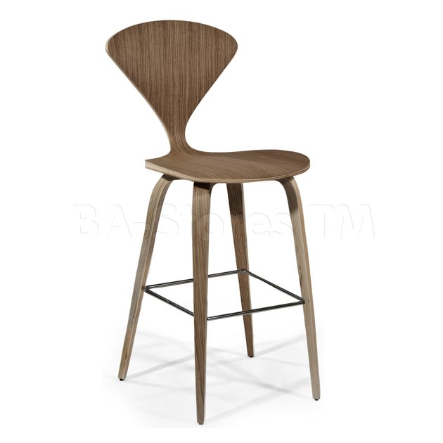 Wooden barstool with minimal triangular back.. Armless.