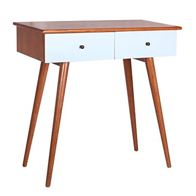 Midcentury wood console with white drawers