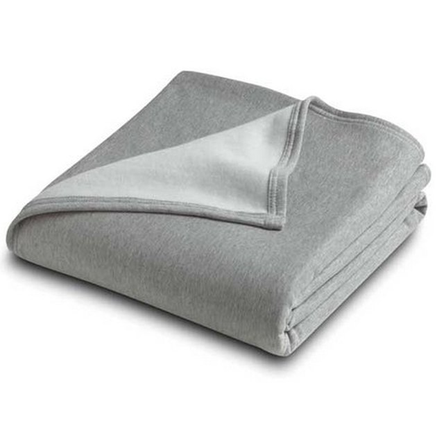 Gray throw blanket featuring sweatshirt material