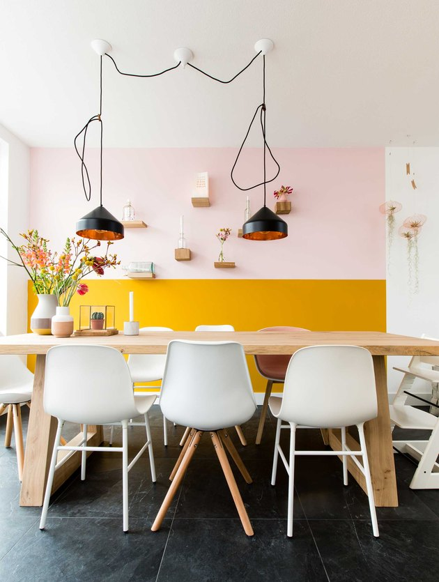 Pink and yellow color-blocked kitchen