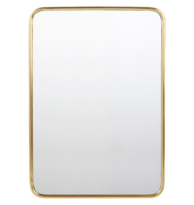 Rounded rectangular mirror with gold frame