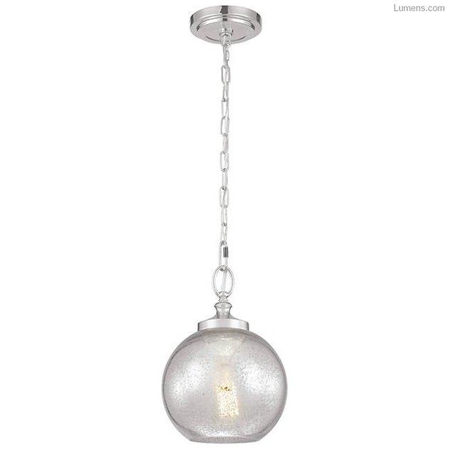 Silver chain bare bulb round pendant light