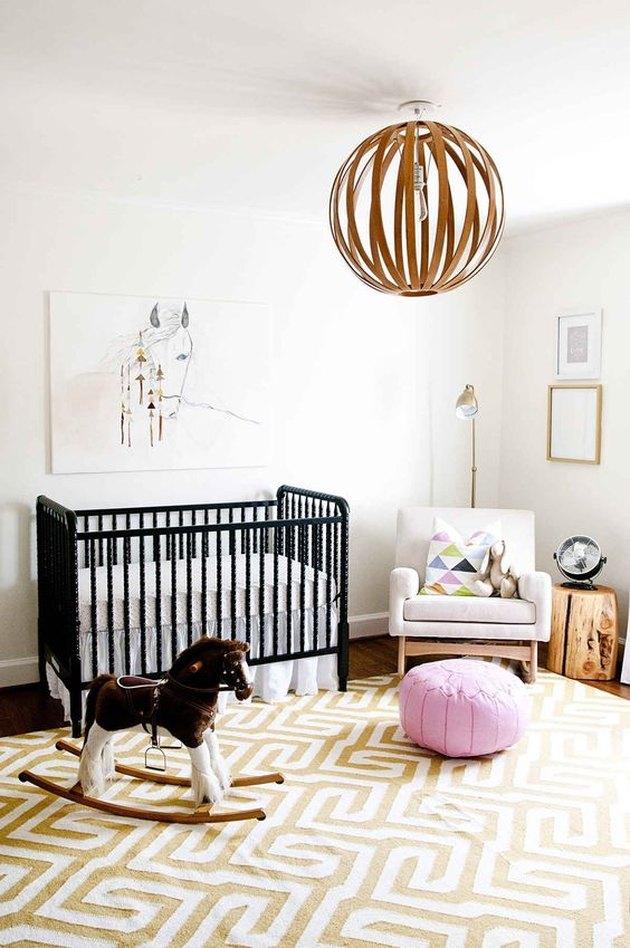 nursery with black crib