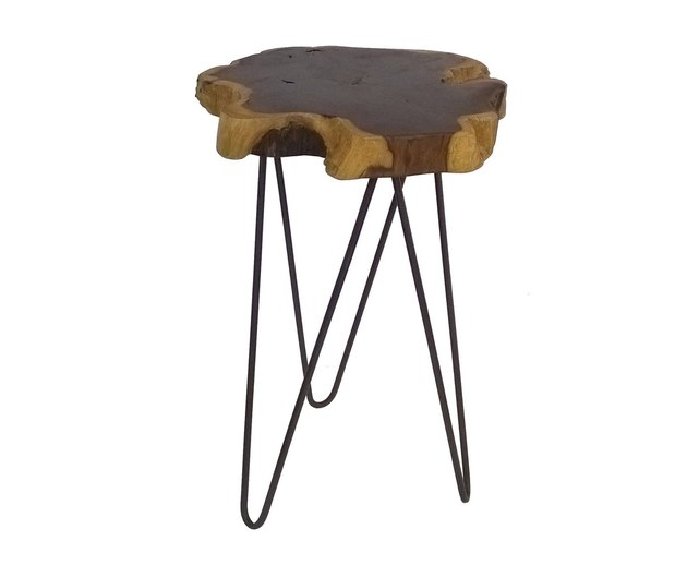 Small live edge wood bedside table with wrought iron legs