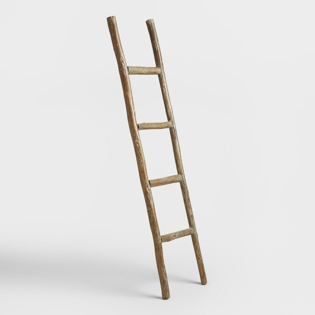 Natural wood ladder decor