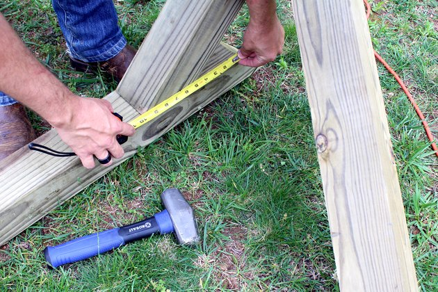 verify that each end is equal in distance   hammock stand DIY