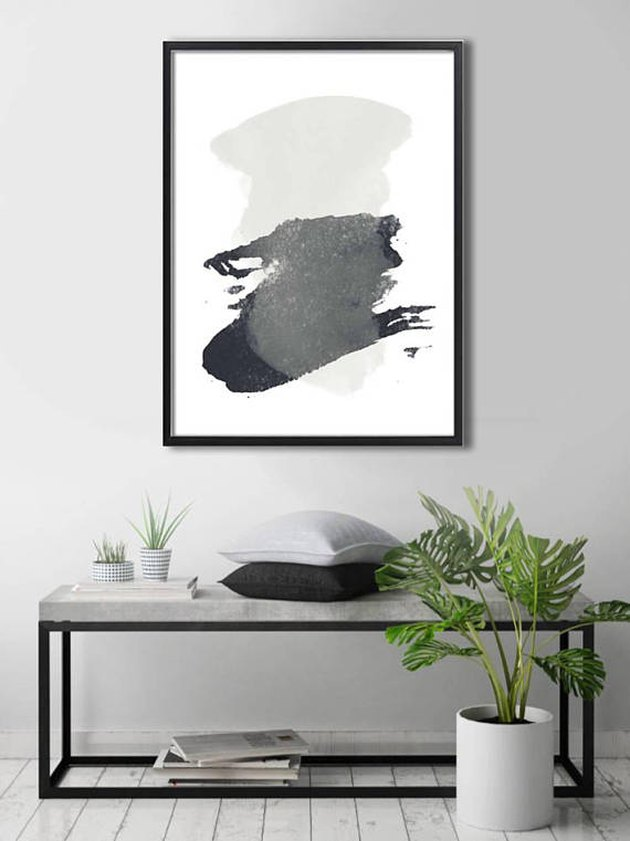 Black and gray abstract print in black frame
