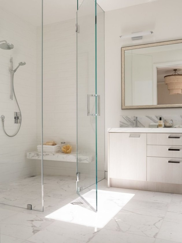 cultured marble white bathroom steam shower with bench