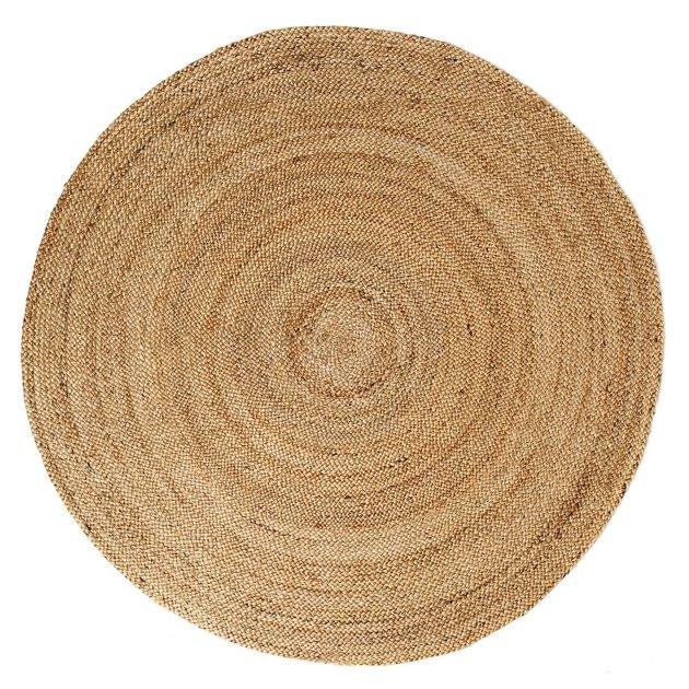 Circular rattan woven rug