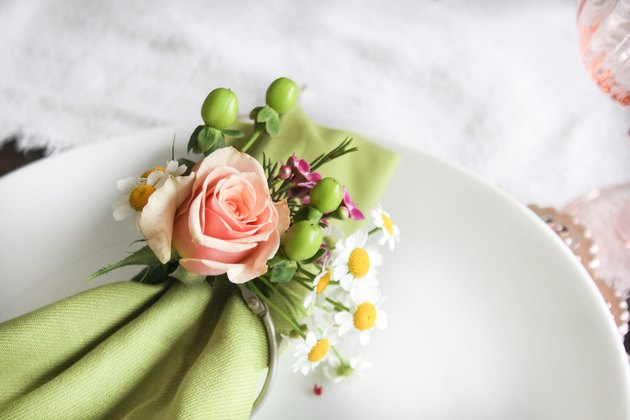 Close up of floral napkin ring