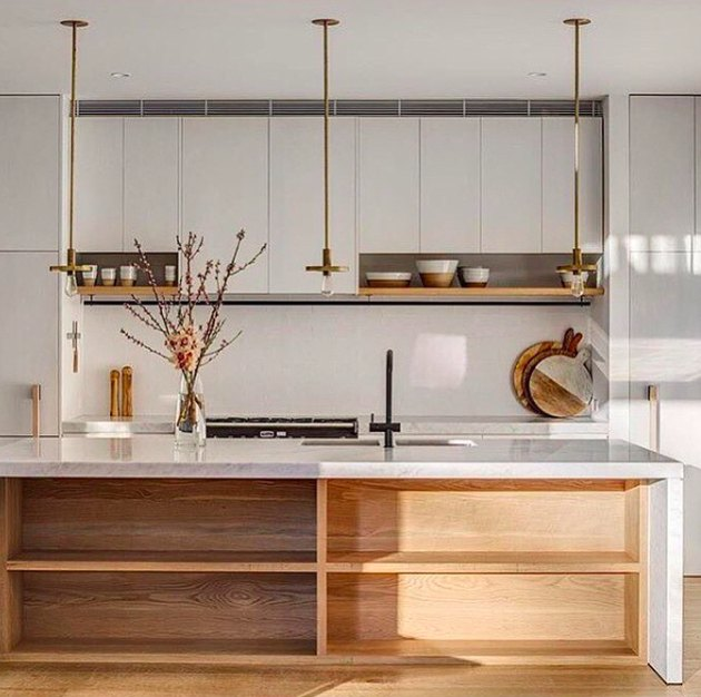 minimal brass exposed bulb kitchen