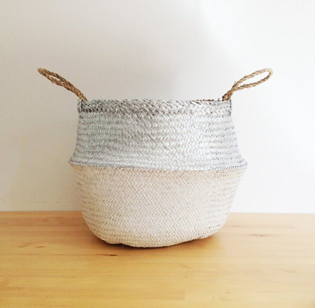 TalaHomeDesign white and silver basket.