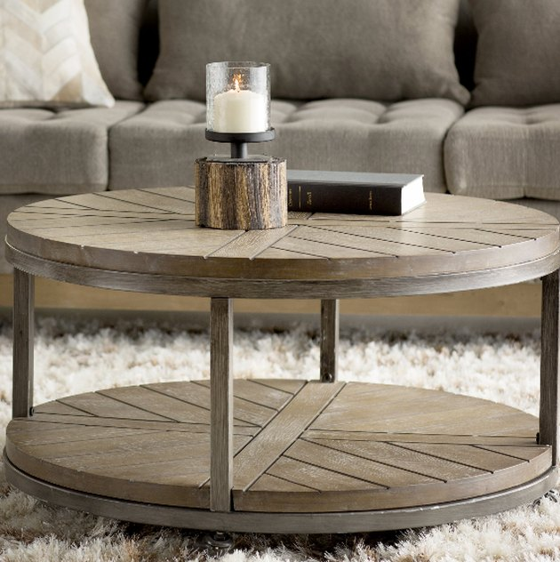 wayfair industrial round coffee table