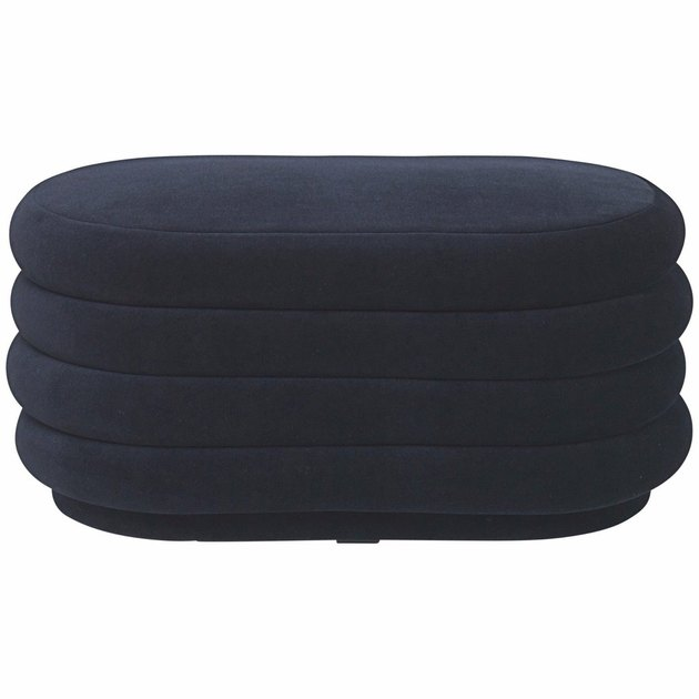 Oval navy blue pouf