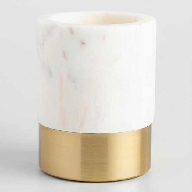 marble and brass pencil cup