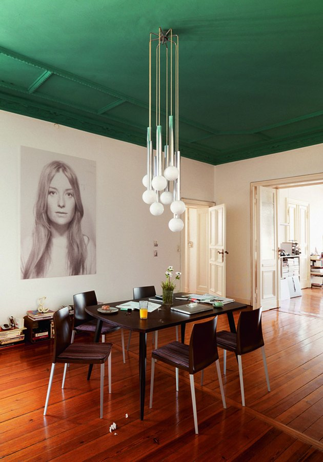 Dining room featuring forrest green ceiling