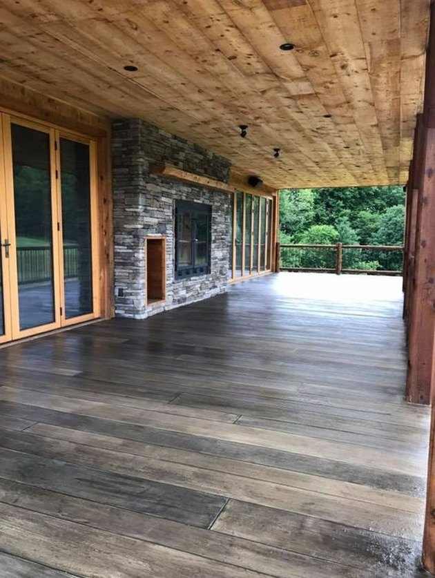 custom stamped concrete patio wood look