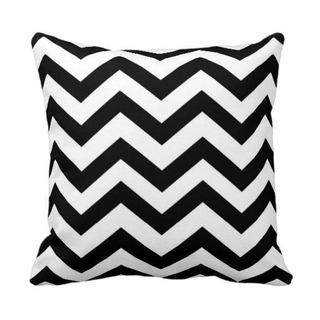 Black and white chevron throw pillow