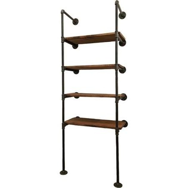 Industrial pipe wall shelf with four wooden shelves
